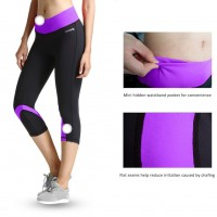 Baleaf Women's Yoga Running Workout Capri Legging Hidden Pocket